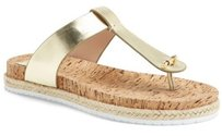Tory Burch Leather Cork Thong Sandal Gold Sandals