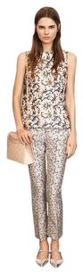 Tory Burch Frances Silk Printed Straight Pants Beige