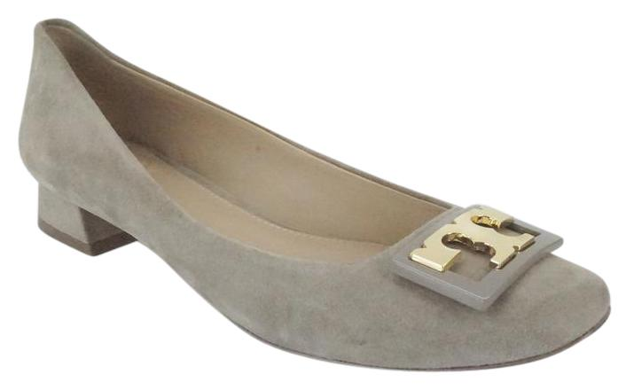 Tory Burch Gigi Block Heel Pump 275 Sz 6 Gray Suede 275 Pump Gold Logo Low Heels 0e894e