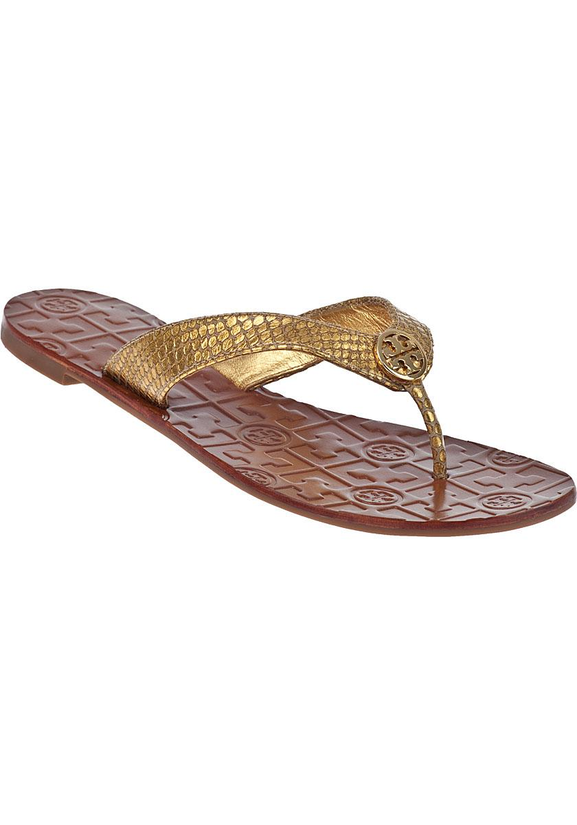 ca3e6584e376e ... Tory Tory Tory Burch Gold New Thora Logo Flat Thong Sandals Size US 5  Regular ...
