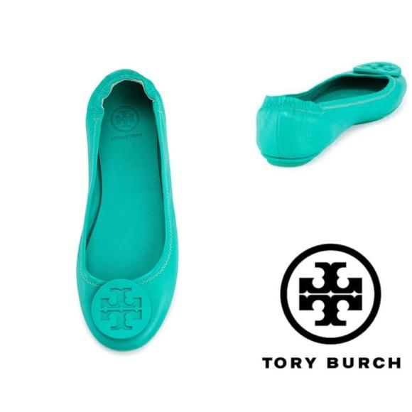 f52eb3e2214 ... leather 69788 bc5e1  uk tory burch minnie travel biscayne ballet size 6  green flats 0828f 39214