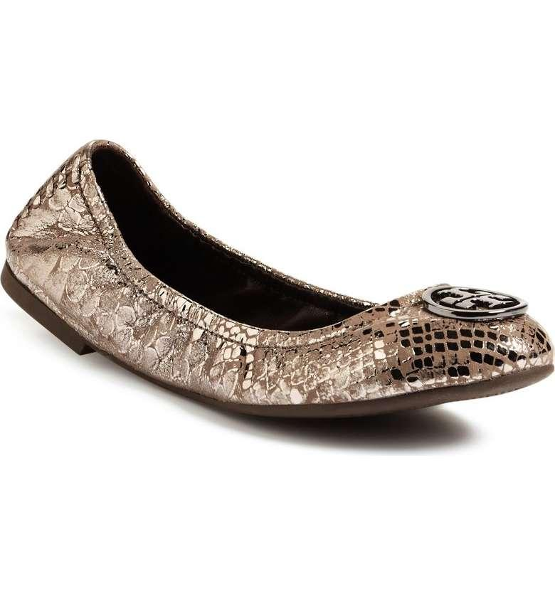 Added to Shopping Bag. Tory Burch Heidi Ballet Metallic Reva Gunmetal Flats