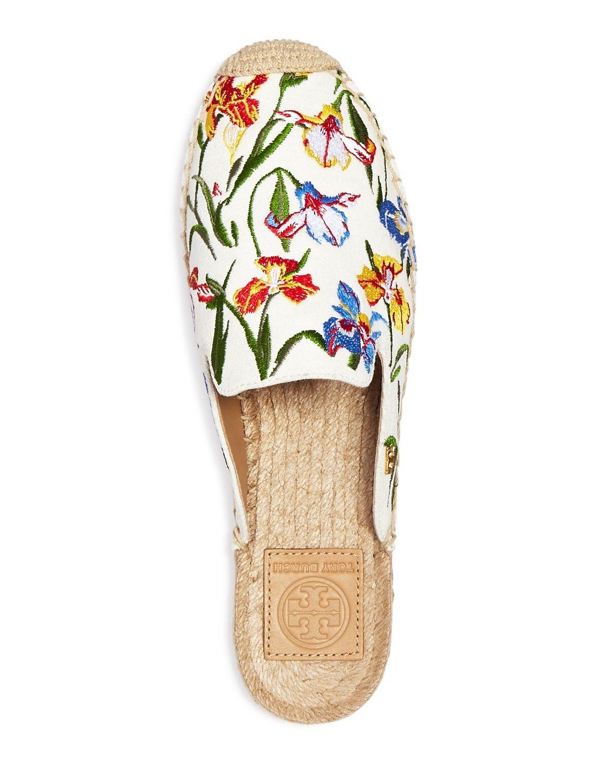 9efe87324f7647 ... Tory Burch Ivory Ivory Ivory Embroidered Max Espadrille Floral Mules Slides  Size US 10 Regular ...