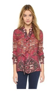 Tory Burch Kera Silk Tie Neck Top Red