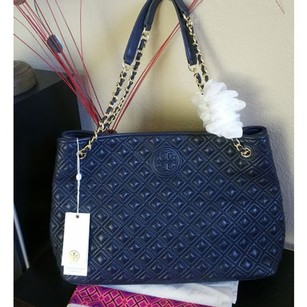 Tory Burch Leather Lambskin Tote in Navy Blue