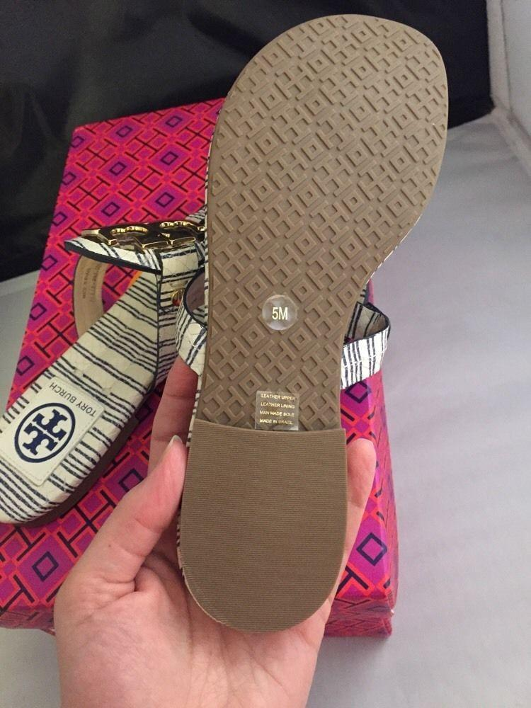 Tory Burch Navy Miller 2 - Piano Stripe - Sandals Size US 5 Regular (M, B)  - Tradesy