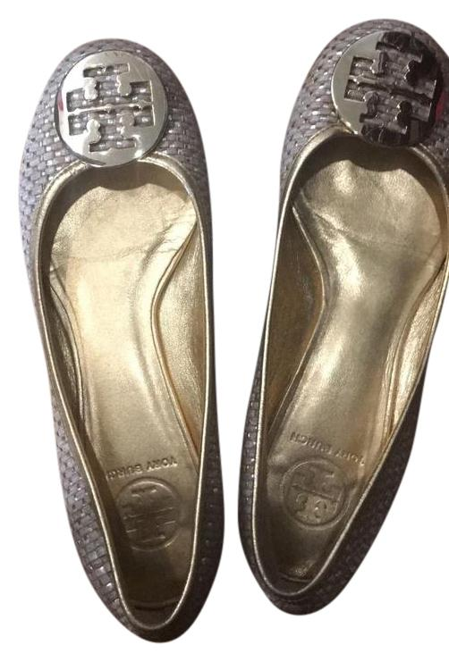 Tory Burch Neutral with Gold 8.5 Woven Flats Size US 8.5 Gold 36b442