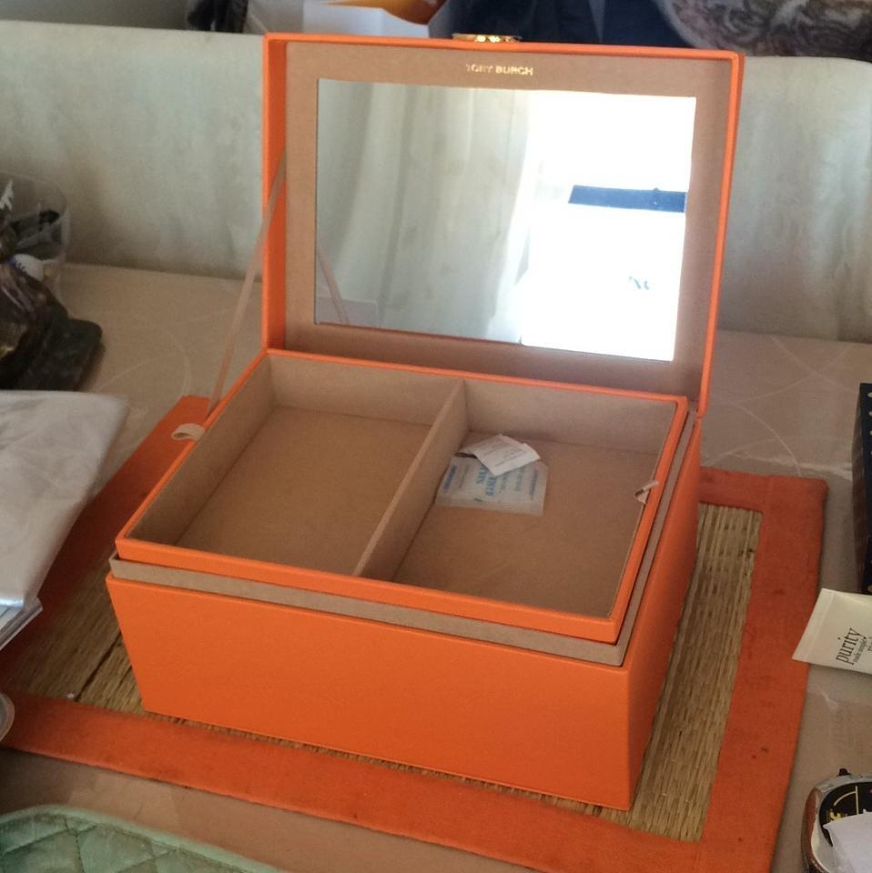 Tory Burch Orange Jewelry Box with Mirror and Removable Tray Tradesy