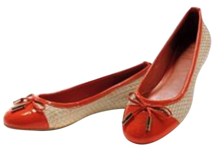 e0f0d42bfcabd Tory Burch Orange Tan Catherine Natural Raffia  Patent Ballet Ballet Ballet  Flats Size US 8.5 Regular (M