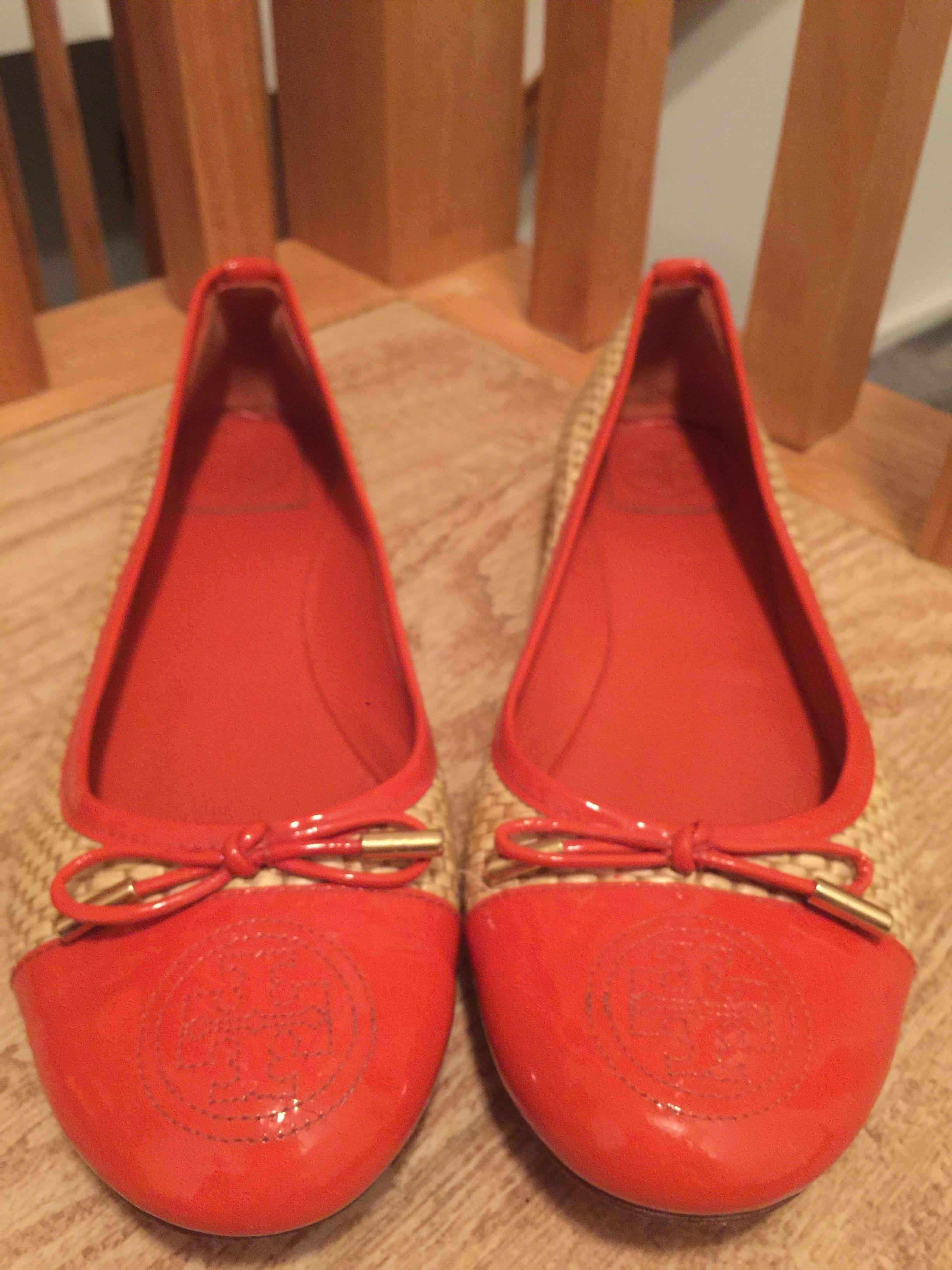 b014e226dc279 ... Tory Burch Orange Tan Catherine Natural Raffia  Patent Ballet Ballet  Ballet Flats Size US ...