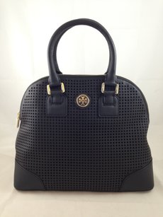 Tory Burch Perforated Leather Satchel in Black