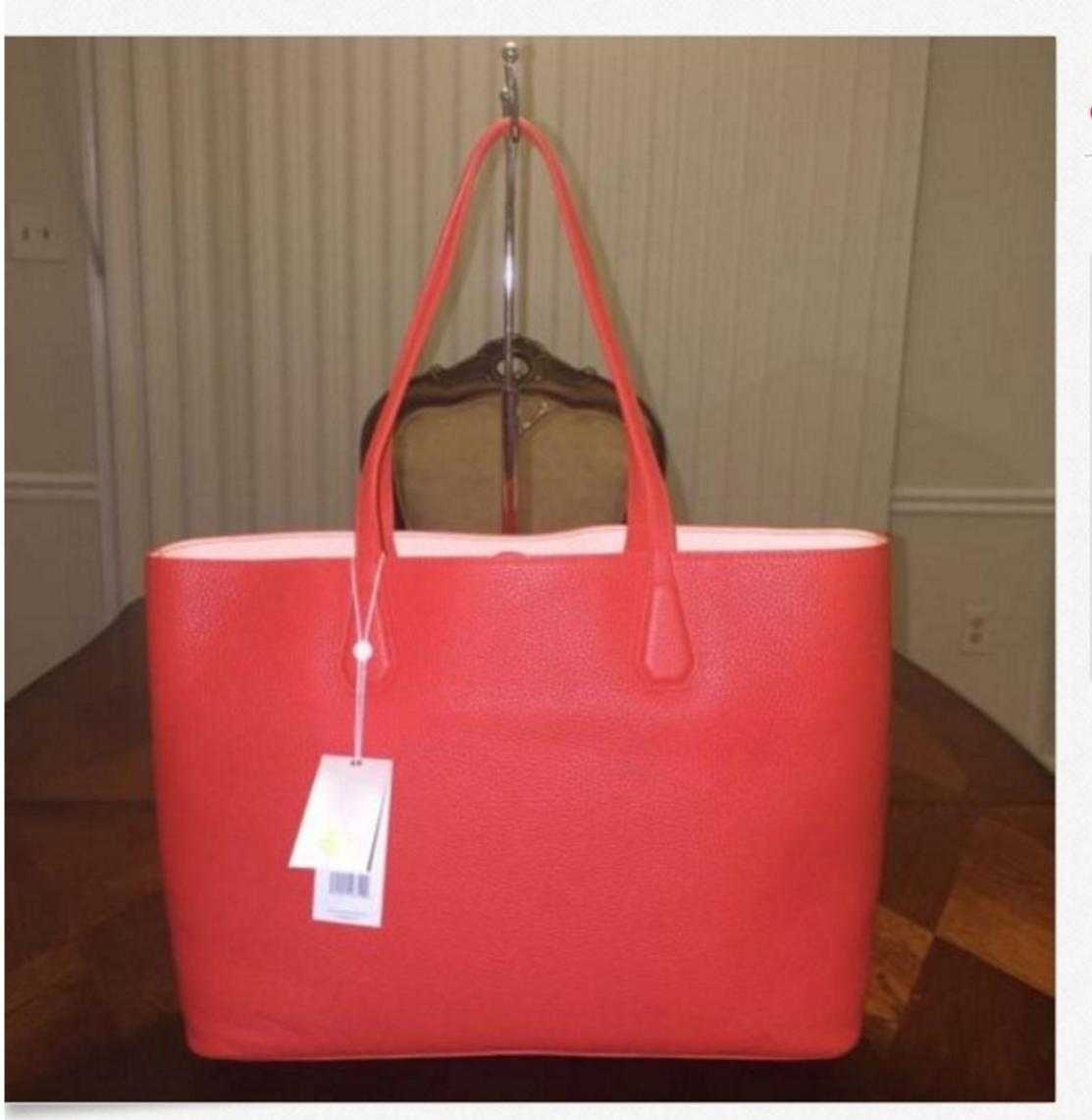 5b4386ee2a34 ... hot tory burch perry poppy red pale apricot pebbled leather tote tradesy  507cd 8969e ...