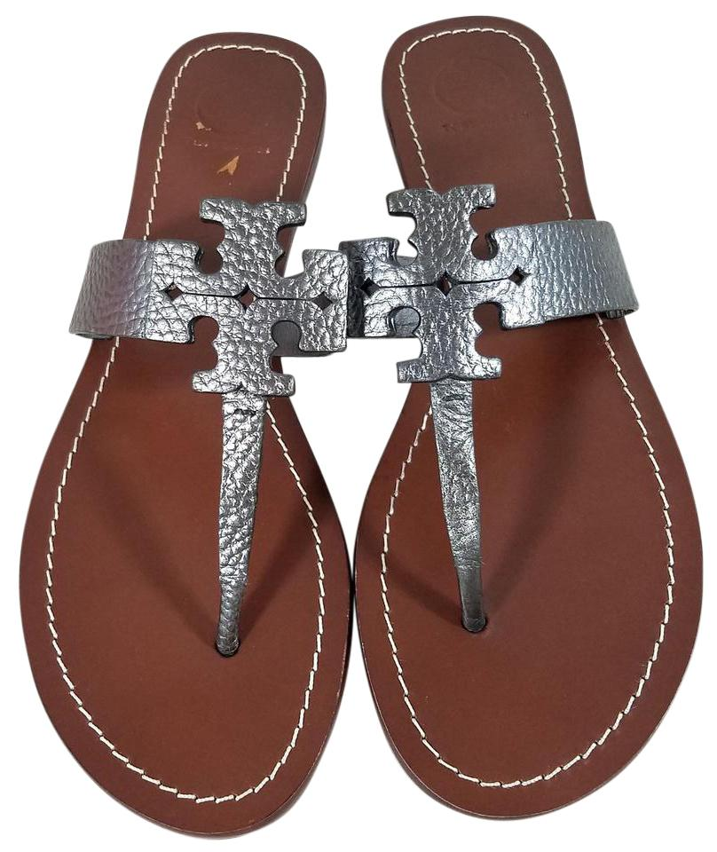 83871ed4cbd912 ... denmark tory burch laser cut logo pebbled leather flat leather lining  rubber sole pewter sandals 86f59 ...