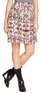 Tory Burch Pleated Brustroke Skirt White Red
