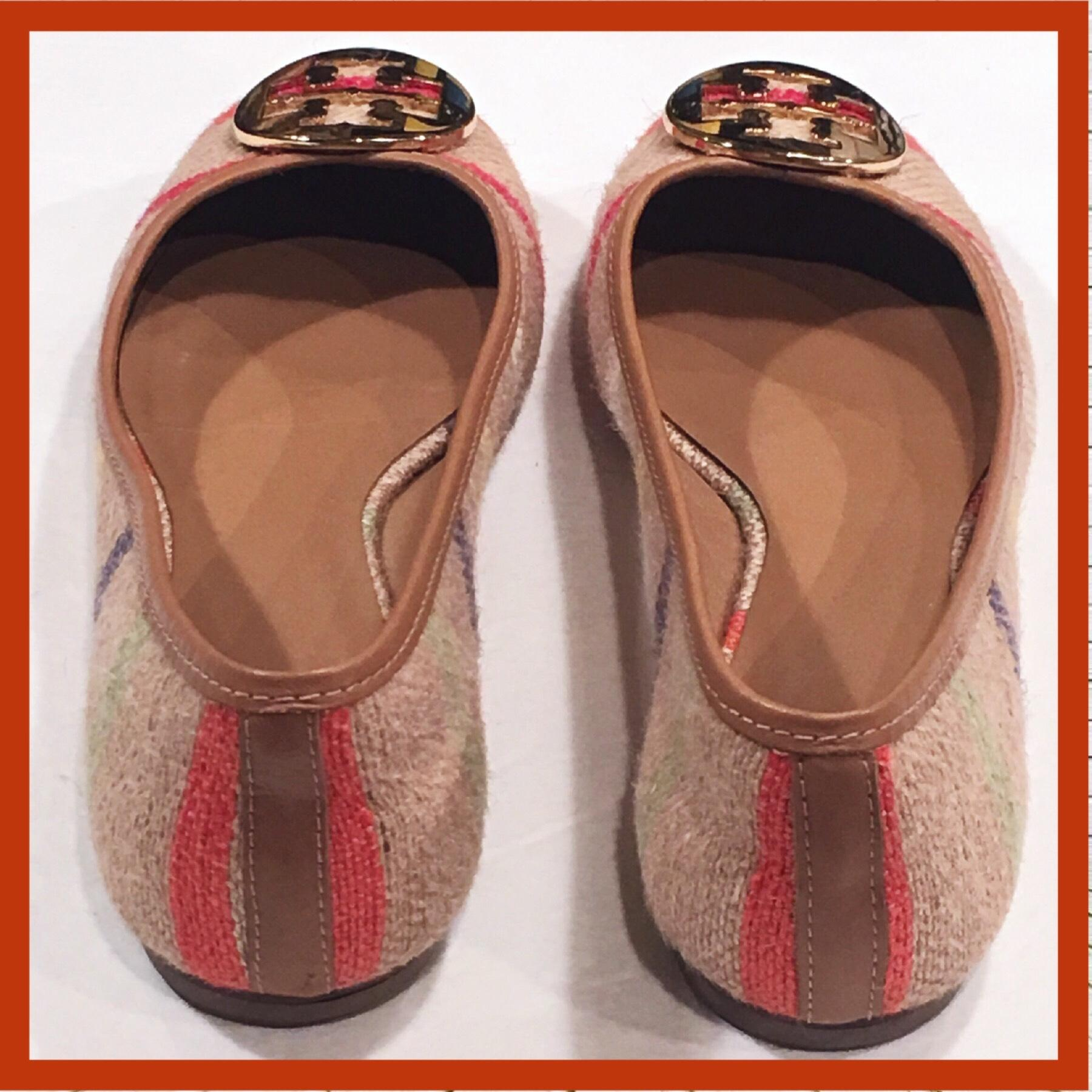 Tory Burch Red Blue Yellow Orange Light Brown White and Tan Background. Reva  Flats