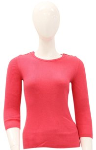 Tory Burch Ribbed Three Quarter Length Crewneck Button Sweater
