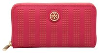 Tory Burch Robinson Perforated Zip Continental Wallet Carnation Red Poppy Coral Pink Leather