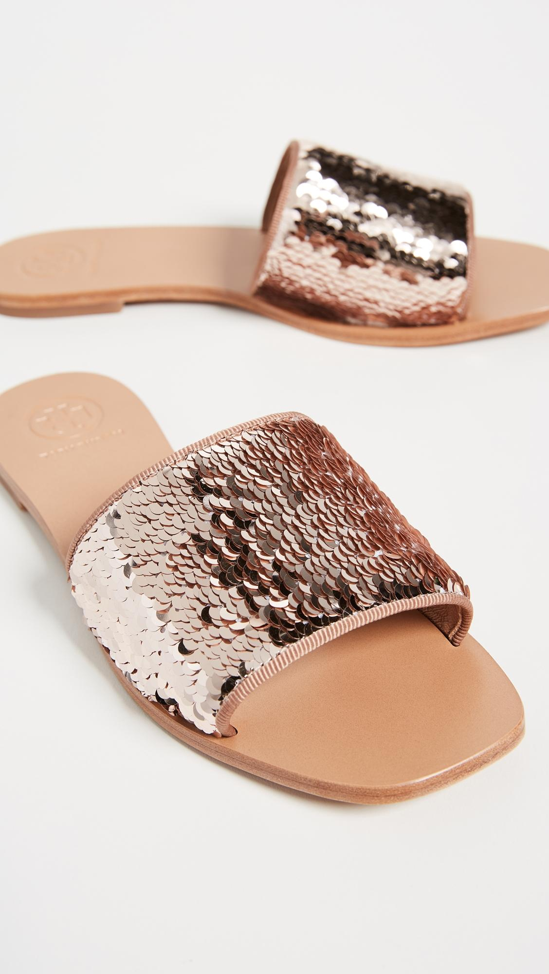 18961adcc627a6 ... Tory Burch Rose Gold New Flats Flats Flats Slides Sandals Size US 8.5  Regular (M ...