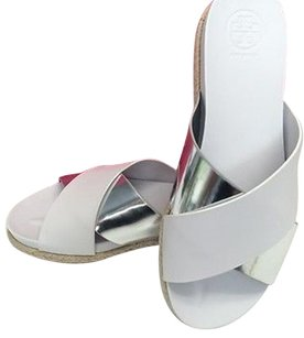 Tory Burch Monterey Two Tone Silver Flat Espadrille White Sandals