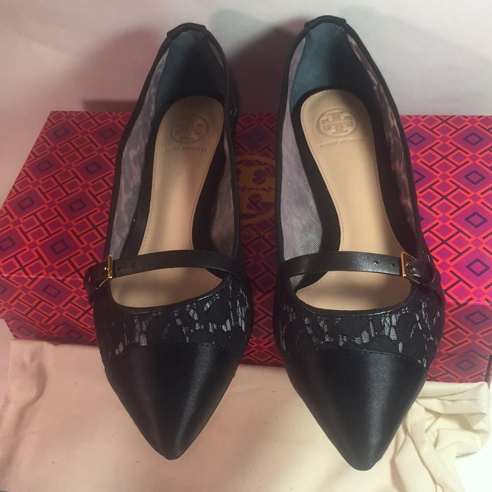 Tory Burch Black Sutton Lace Satin Ballerina 5.5m Flats Size US 5.5 Regular  (M, B) - Tradesy
