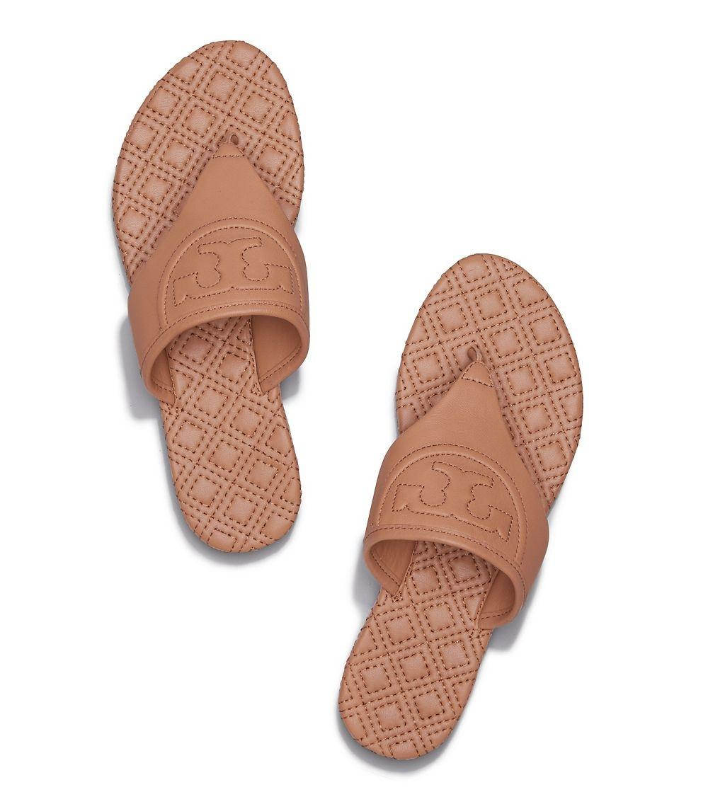 Tory Burch Flip Flops Fleming Leather Flats Tan Sandals