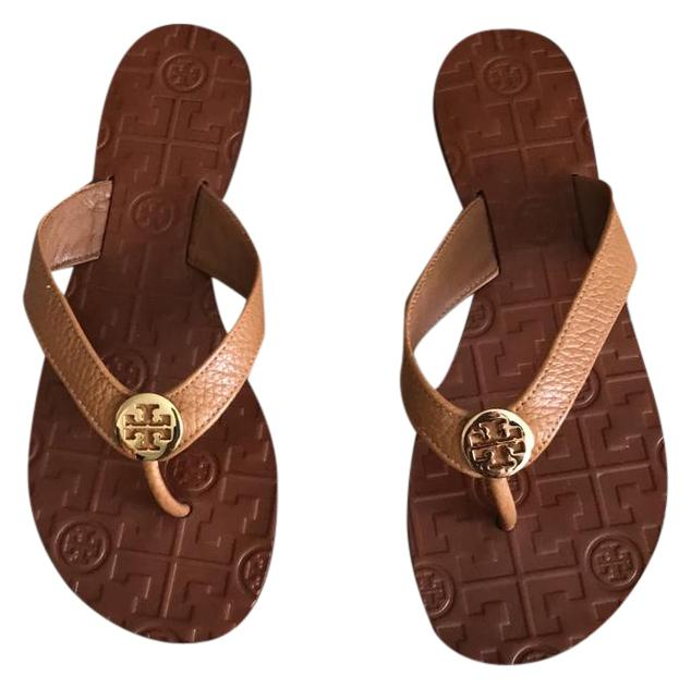 746199eee1a03d ... good tory burch tan gold tumbled leather sandals ee658 8a5ed