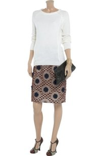 Tory Burch Womens Floral Fig Skirt Brown