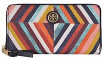 Tory Burch Tory Burch Kerrington Diamond Print Canvas Zip Around Continental Wallet