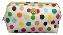 Tory Burch Tory Burch Printed Nylon Large Molded Cosmetic Case Multi Dot Multi-color White