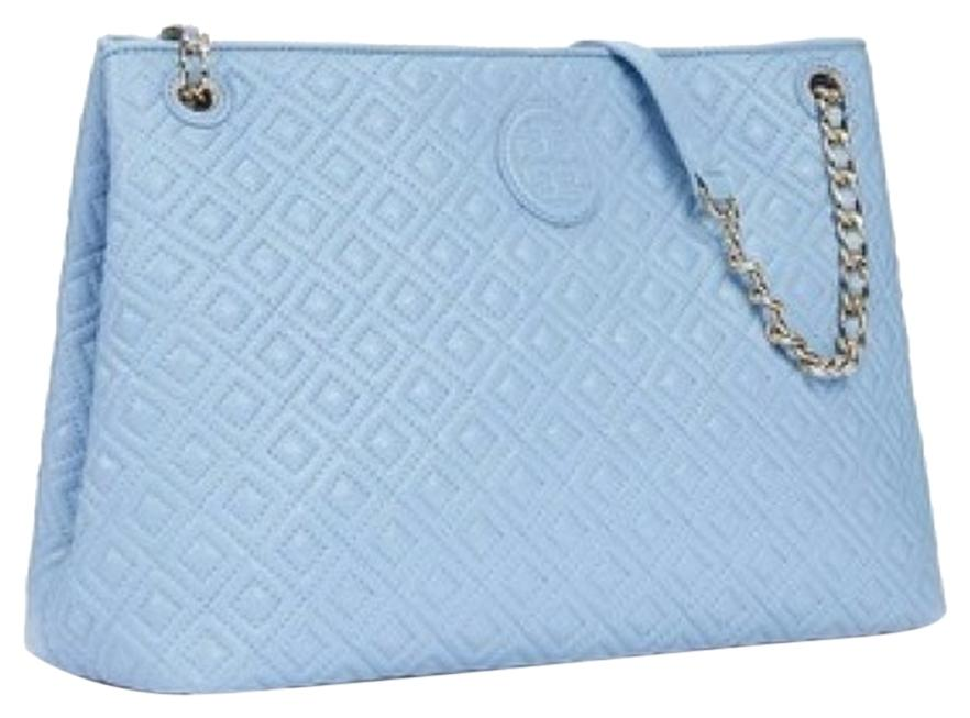 Tory Burch Marion Quilted Center Zip Fairview Blue Tote