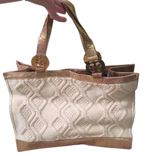 Tory Burch Tote in Cream/Gold