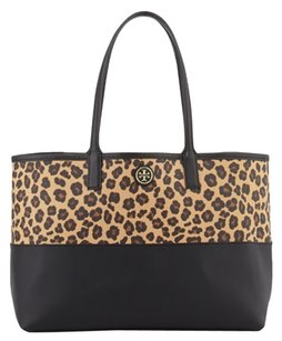 Tory Burch Tote in Ocelot leopard black brown animal print