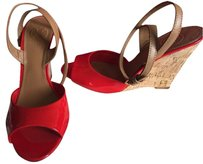 Tory Burch Wedge Patent Leather Peep Toe Red, Beige Wedges