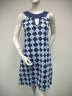Tracy Negoshian Sky Dark Blue White Print Coco Sleeveless Mini Dress