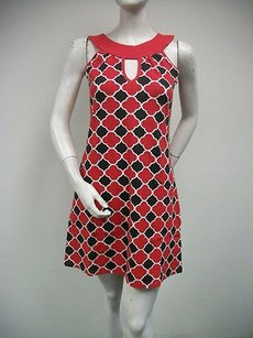 Tracy Negoshian Red Black White Print Coco Sleeveless Mini Dress