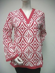 Tracy Negoshian Maria Crimson Red White Print 100 Cotton Tunic