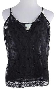 Tracy Reese Womens Shirt Sleeveless Nylon Beaded Top Black