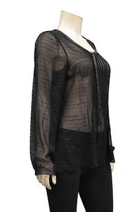 Tracy Reese Ny Slub Silk Sheer Faux Leather Trimtop 190397 Tunic