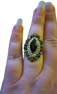 Tribal Victorian Inlaid Large Salem Witch Jeweled Gold Tone Antique Ring