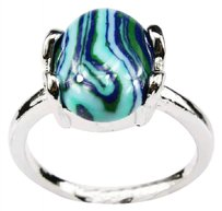 Tribal Silver Unisex Oval Striped Malachite Turquoise Style Ring