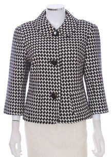 Trina Turk 3/4 Sleeve Cropped Cotton Peter Pan Collar Houndstooth Black and White Blazer