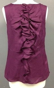 Trina Turk Lined Silk Back Neck Button Front Shell Sma 7782 Top Purple