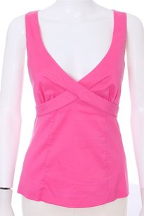 Trina Turk Cotton V-neck Sleeveless Top Hot Pink