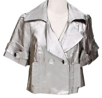 Trina Turk Cropped Metallic Silver Jacket
