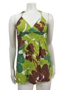 Trina Turk Green Brown Floral Multi-Color Halter Top
