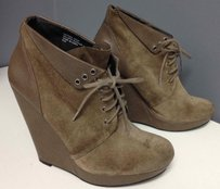 Trouvé Light Suede Lace Up Wedge Heel Casual Ankle B2561 Brown Boots