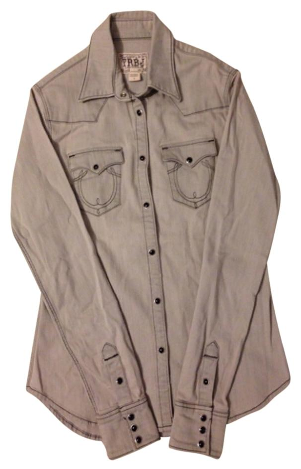 True Religion Grey Denim Button Down Shirt