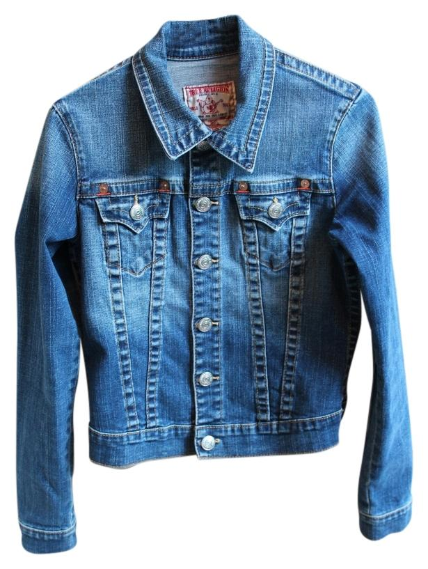 true religion medium wash denim womens jean jacket tradesy