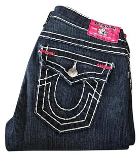 True Religion Womens Womens Straight Leg Jeans-Dark Rinse