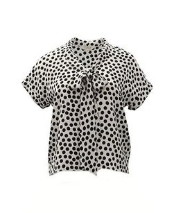 Tucker Polka Dots Silk Cropped Bow 230635e Top Black/White